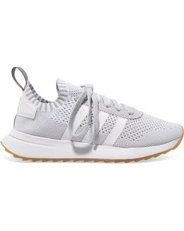 Flb Leather And Suede-trimmed Primeknit Sneakers