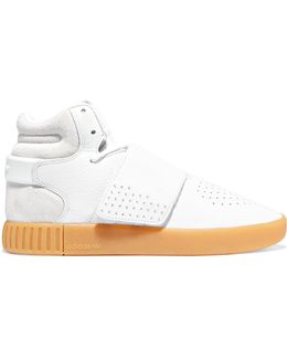 Tubular Invader Textured-leather And Suede High-top Sneakers