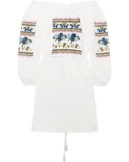Off-the-shoulder Embroidered Cotton-poplin Mini Dress