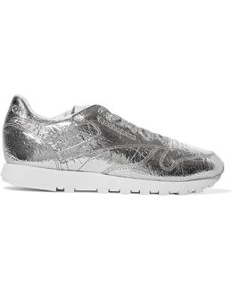 Classic Metallic Crinkled-leather Sneakers