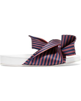 Knotted Striped Satin Slide Sandal