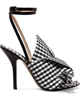 Knotted Gingham Twill And Leather Sandals