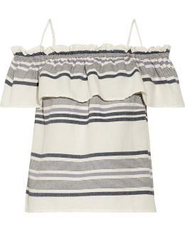 Off-the-shoulder Ruffled Striped Cotton-gauze Top