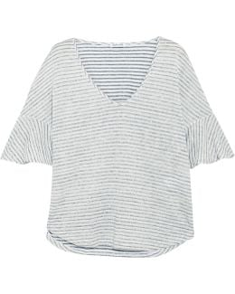 Striped Linen And Cotton-blend Top