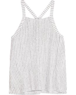 Striped Slub Linen And Cotton-blend Tank