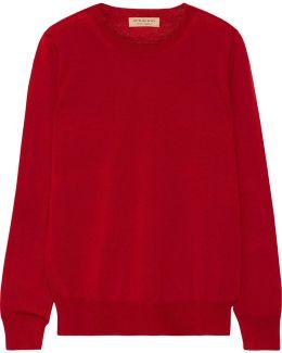 Flannel-trimmed Merino Wool Sweater