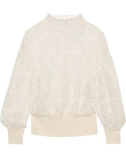 Ribbed Knit-trimmed Lace Sweater