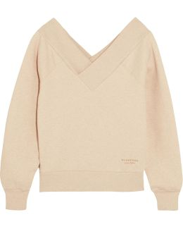 Off-the-shoulder Stretch Cotton-blend Sweatshirt