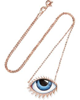 Tu Es Partout 14-karat Rose Gold Enamel Necklace