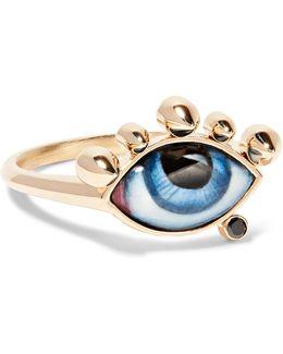 Tu Es Partout 14-karat Gold, Enamel And Diamond Ring