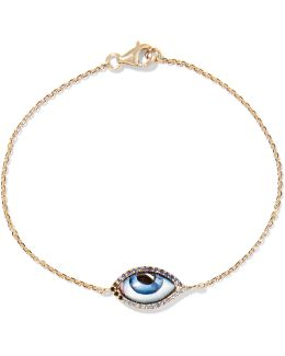 Tu Es Partout 14-karat Gold, Diamond, Sapphire And Enamel Bracelet