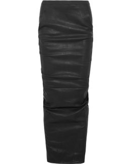 Ruched Stretch-leather Maxi Skirt