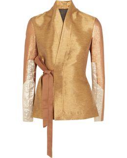 Metallic Lamé And Cotton Blend-paneled Shantung Wrap Jacket
