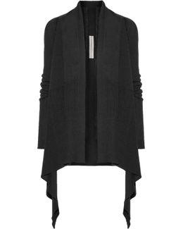 Asymmetric Ribbed Wool Cardigan