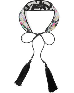 Tasseled Printed Silk Choker