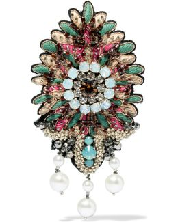 Embroidered, Bead, Crystal And Faux Pearl Brooch