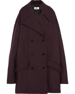 Oversized Double-breasted Bonded Jersey Coat