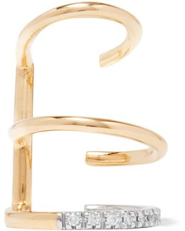 Laurel Blanc 18-karat Gold, Rhodium-plated And Diamond Ear Cuff