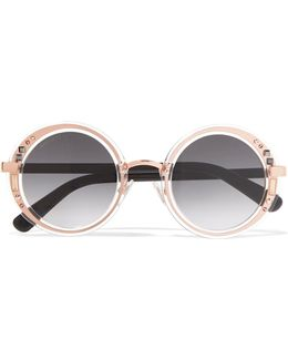 Round-frame Embellished Rose Gold-tone And Acetate Sunglasses
