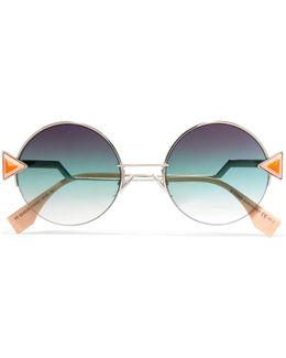 Stud-embellished Palladium-tone And Acetate Round Sunglasses