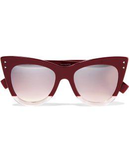 Cat-eye Two-tone Acetate Sunglasses