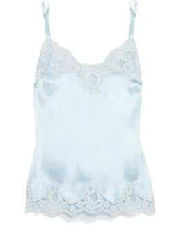Lace-trimmed Stretch-silk Satin Camisole