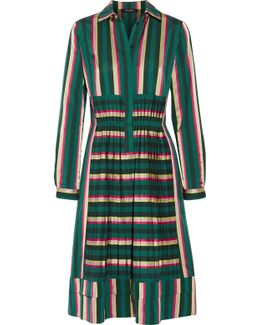 Pleated Striped Cotton-blend Dress