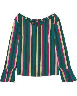 Striped Cotton-blend Poplin Top