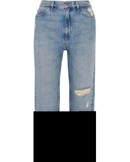 Jeanne High-rise Cropped Distressed Straight-leg Jeans