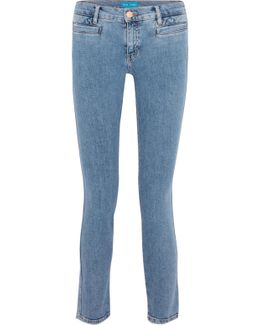 Paris Cropped Embroidered Low-rise Skinny Jeans