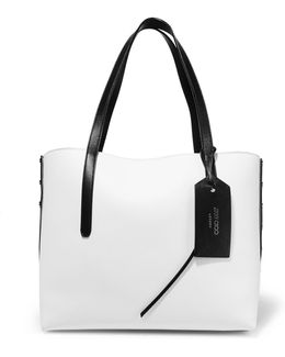Twist Studded Textured-leather Tote