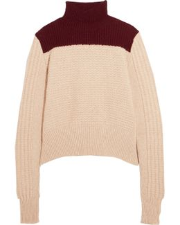Two-tone Alpaca-blend Turtleneck Sweater