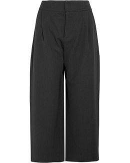 Cropped Pleated Wool-twill Wide-leg Pants