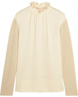 Gathered Crepe-paneled Wool-blend Top