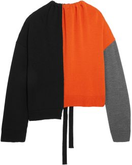 Oversized Color-block Wool Sweater
