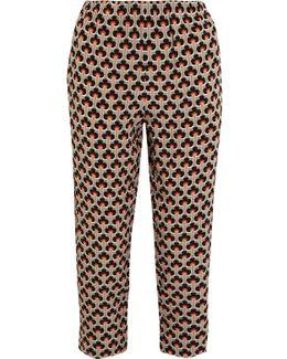 Printed Silk-crepe Track Pants
