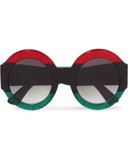 Oversized Round-frame Glittered Acetate Sunglasses