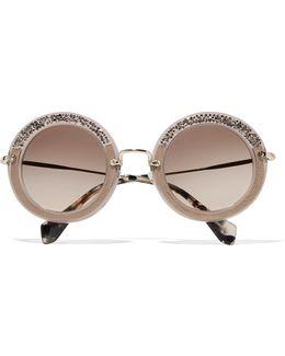 Embellished Round-frame Acetate Sunglasses