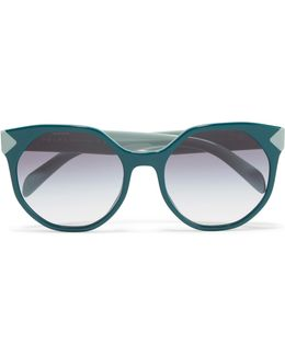 Round-frame Two-tone Acetate Sunglasses