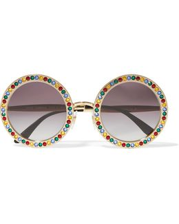 Crystal-embellished Round-frame Gold-tone Sunglasses