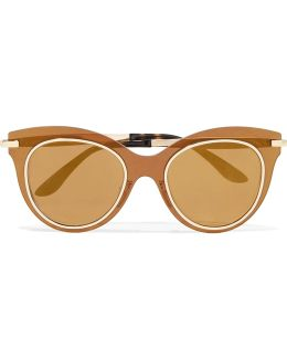 Cat-eye Acetate And Gold-tone Mirrored Sunglasses