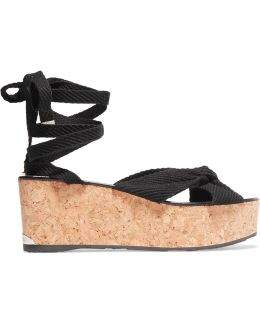 Norah Knotted Canvas Wedge Sandals