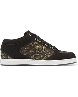 Miami Lace-paneled Suede Sneakers