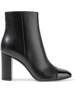 Patent And Matte Leather Ankle Boots