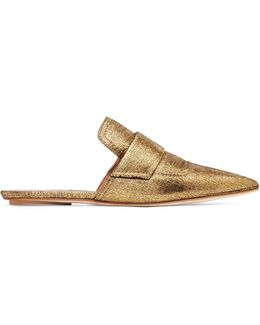 Metallic Textured-leather Slippers