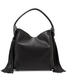 Eloise Spiked Tasseled Textured-leather Shoulder Bag