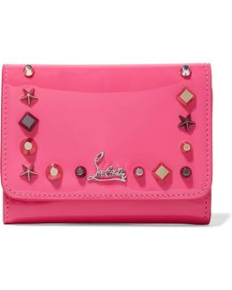 Macaron Spiked Patent-leather Wallet