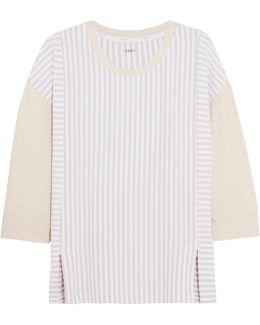 City Stripes Paneled Stretch-modal Jersey Top