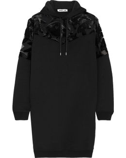 Devoré Velvet-paneled Cotton-jersey Hooded Mini Dress