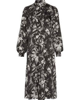 Pussy-bow Printed Satin-twill Midi Dress